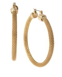 Kenneth Cole | Metallic Gold-tone Mesh Hoop Earrings | Lyst