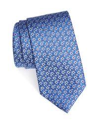 Ermenegildo Zegna Blue Floral Woven Silk Tie for men