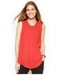 Vince Camuto | Orange Sleeveless Front-pleat Blouse | Lyst
