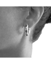 Kinnari - Metallic Silver Small Crown Hoop Earrings With Agate - Lyst
