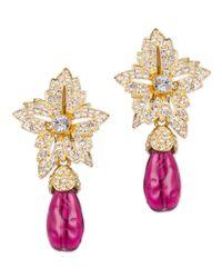 Kenneth Jay Lane | Pink Ruby Drop Clip Earring | Lyst
