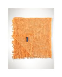 Polo Ralph Lauren - Orange Frayed Cotton-blend Scarf - Lyst