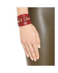 Balenciaga - Red Giant Leather Bracelet - Lyst