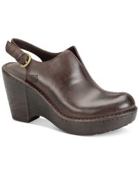 Born | Brown Flowers Slingback Clogs | Lyst