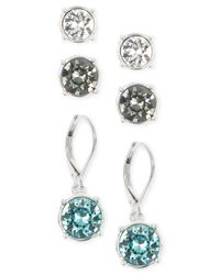 Nine West | Metallic Silver-tone Crystal Stud And Drop Earring Set | Lyst