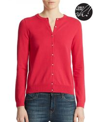 Lord & Taylor | Red Plus Button Front Cardigan | Lyst
