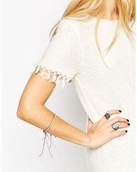 ASOS | Gray Cord & Chain Tassel Bracelet | Lyst