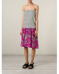 Erika Cavallini Semi Couture | Purple Stripe And Floral Print Dress | Lyst