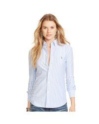 Polo Ralph Lauren | Blue Striped Knit Oxford Shirt | Lyst