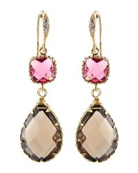Indulgems | Smoky Quartz & Pink Glass Station Teardrop Earrings | Lyst