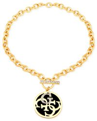 Guess | Black Gold-tone Chain With Clear Crystal Pavé Stones And Logo Circle Charm | Lyst