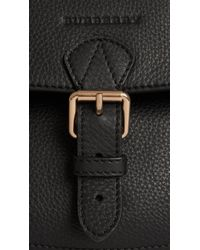 Burberry - Black Grainy Leather And Canvas Check Winged Tote Bag - Lyst