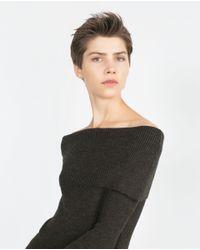 Zara | Green Boat Neck Sweater | Lyst