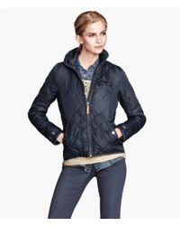 H&M - Blue Quilted Jacket - Lyst