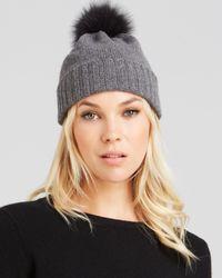 Bettina - Gray Fox Fur Pom-Pom Cashmere Slouchy Hat - Lyst