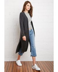 Forever 21 - Gray Longline Heathered Cardigan - Lyst