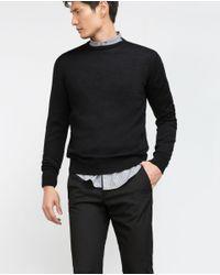 Zara | Black Merino Wool Sweater for Men | Lyst