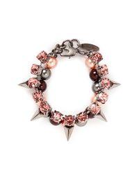 Joomi Lim - Pink 'vicious Love' Crystal Pearl Spike Bracelet - Lyst