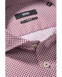 BOSS - Red 'jaser' | Slim Fit, Italian Cotton Printed Dress Shirt for Men - Lyst