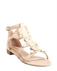 Pour La Victoire - Natural Sand Leather 'Eleni' Strappy Bolt Flat Sandals - Lyst