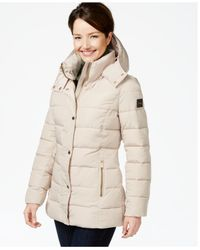 Calvin Klein | Natural Faux-leather-trim Quilted Puffer Coat | Lyst