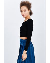 Kimchi Blue - Black Ribbed Off-the-shoulder Top - Lyst