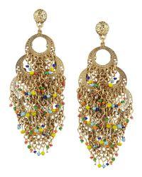 R.j. Graziano - Metallic Layered Beaded Hoop Chandelier Earrings - Lyst