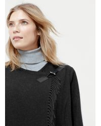 Violeta by Mango | Black Fringe Wool-blend Coat | Lyst