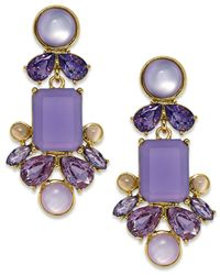 kate spade new york | Gold-Tone Purple Stone Chandelier Earrings | Lyst