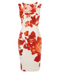 Karen Millen | Red Oversize Floral Pencil Dress | Lyst