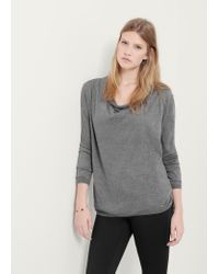 Violeta by Mango - Gray Long Cotton Sweater - Lyst