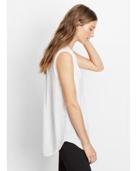 VINCE | White Sleeveless Shirred Shoulder Top | Lyst