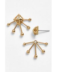 Rebecca Minkoff | Metallic 'Pearl Stud' Cutout Fan Stud Earrings | Lyst