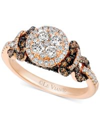 Le Vian | Pink Chocolate And White Diamond Cluster Ring In 14k Rose Gold (1 Ct. T.w.) | Lyst