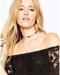 ASOS | Black Encased Stone Choker Necklace | Lyst