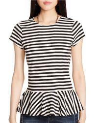 Polo Ralph Lauren - Black Jersey Striped Peplum Top - Lyst