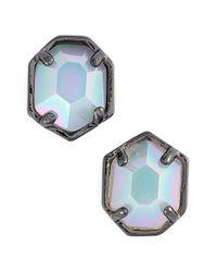 Kendra Scott - Metallic 'logan' Stud Earrings - Gunmetal Iridescent Opalite - Lyst