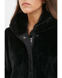 Forever 21 - Black Contemporary Faux Fur Hooded Jacket - Lyst