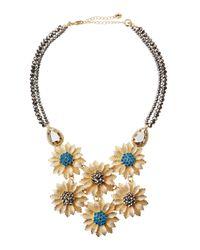 Lydell NYC - Metallic Golden Flower-Bib Statement Necklace - Lyst