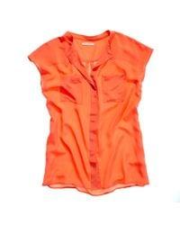 Madewell - Orange Silk West Fall Shirt - Lyst