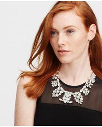 Ann Taylor | Metallic Crystal Brooch Statement Necklace | Lyst