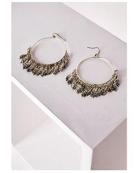Missguided | Metallic Large Leaf Detail Hoop Earrings Gold | Lyst