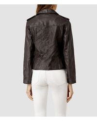AllSaints | Gray Addison Leather Biker Jacket | Lyst