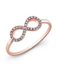 Anne Sisteron | Pink 14kt Rose Gold Diamond Small Infinity Ring | Lyst