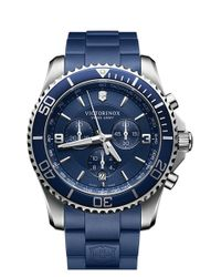 Victorinox | Blue 'maverick' Chronograph Rubber Strap Watch for Men | Lyst