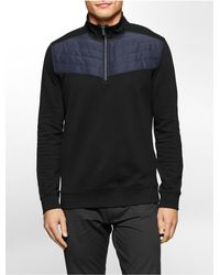 Calvin Klein - Black Classic Fit Mock Neck 1/4 Zip Fleece Sweatshirt for Men - Lyst