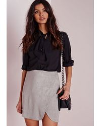 Missguided - Gray Faux Suede Wrap Mini Skirt Light Grey - Lyst