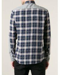 IRO - Blue Inset Colour Block Check Shirt for Men - Lyst