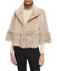 Belle Fare | Natural Toscana Reversible Shearling-Trimmed Cape | Lyst