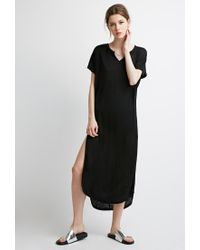 Forever 21 | Black Slub Knit High-slit Dress | Lyst